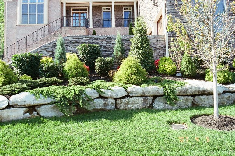 stone work brick and stone border landscaping
